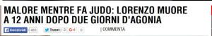 Bimbo 12 anni muore a judo